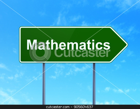 Learning concept: Mathematics on road sign background stock photo, Learning concept: Mathematics on green road highway sign, clear blue sky background, 3D rendering by mkabakov