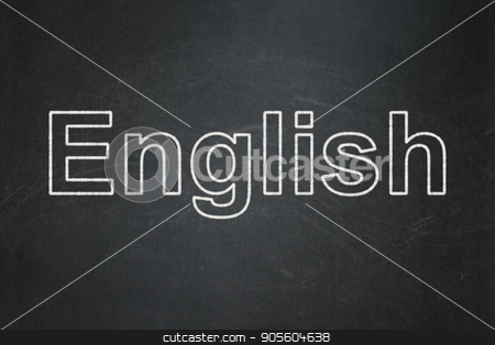 Studying concept: English on chalkboard background stock photo, Studying concept: text English on Black chalkboard background by mkabakov