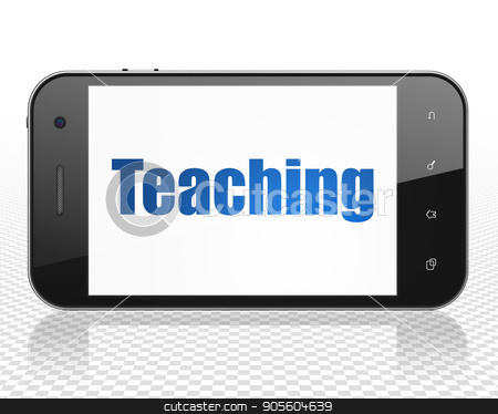 Learning concept: Smartphone with Teaching on display stock photo, Learning concept: Smartphone with blue text Teaching on display, 3D rendering by mkabakov
