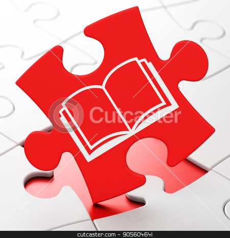 Studying concept: Book on puzzle background stock photo, Studying concept: Book on Red puzzle pieces background, 3D rendering by mkabakov