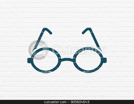 Learning concept: Glasses on wall background stock photo, Learning concept: Painted blue Glasses icon on White Brick wall background by mkabakov