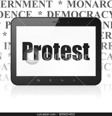 Political concept: Tablet Computer with Protest on display stock photo, Political concept: Tablet Computer with  black text Protest on display,  Tag Cloud background, 3D rendering by mkabakov