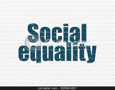 Politics concept: Social Equality on wall background stock photo, Politics concept: Painted blue text Social Equality on White Brick wall background by mkabakov