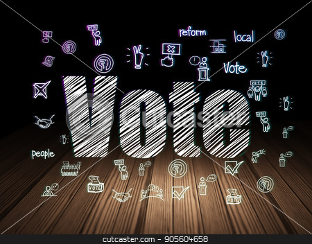 Politics concept: Vote in grunge dark room stock photo, Politics concept: Glowing text Vote,  Hand Drawn Politics Icons in grunge dark room with Wooden Floor, black background by mkabakov