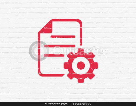 Programming concept: Gear on wall background stock photo, Programming concept: Painted red Gear icon on White Brick wall background by mkabakov