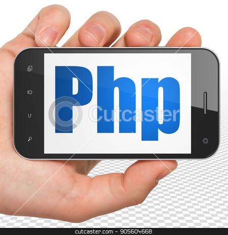 Database concept: Hand Holding Smartphone with Php on display stock photo, Database concept: Hand Holding Smartphone with blue text Php on display, 3D rendering by mkabakov