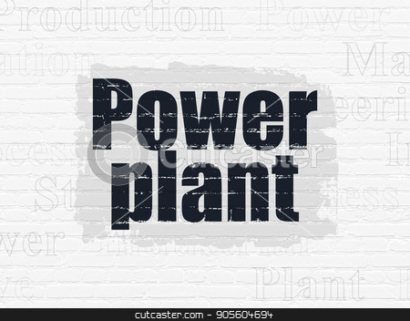 Manufacuring concept: Power Plant on wall background stock photo, Manufacuring concept: Painted black text Power Plant on White Brick wall background with  Tag Cloud by mkabakov