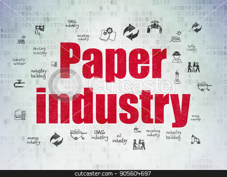 Manufacuring concept: Paper Industry on Digital Data Paper background stock photo, Manufacuring concept: Painted red text Paper Industry on Digital Data Paper background with  Hand Drawn Industry Icons by mkabakov