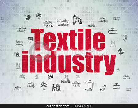 Industry concept: Textile Industry on Digital Data Paper background stock photo, Industry concept: Painted red text Textile Industry on Digital Data Paper background with  Hand Drawn Industry Icons by mkabakov