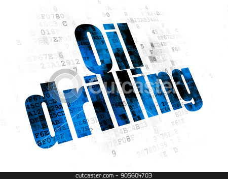 Industry concept: Oil Drilling on Digital background stock photo, Industry concept: Pixelated blue text Oil Drilling on Digital background by mkabakov