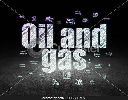 Manufacuring concept: Oil and Gas in grunge dark room stock photo, Manufacuring concept: Glowing text Oil and Gas,  Hand Drawn Industry Icons in grunge dark room with Dirty Floor, black background by mkabakov