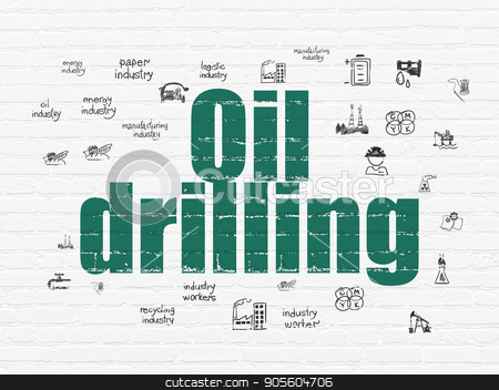 Manufacuring concept: Oil Drilling on wall background stock photo, Manufacuring concept: Painted green text Oil Drilling on White Brick wall background with  Hand Drawn Industry Icons by mkabakov