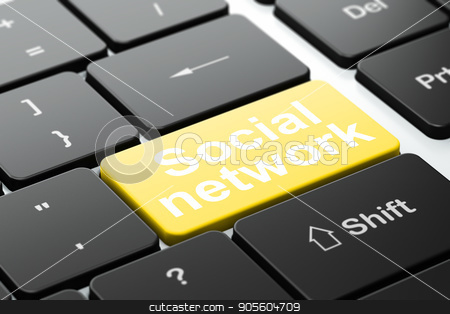 Social media concept: Social Network on computer keyboard background stock photo, Social media concept: computer keyboard with word Social Network, selected focus on enter button background, 3D rendering by mkabakov
