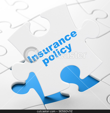 Insurance concept: Insurance Policy on puzzle background stock photo, Insurance concept: Insurance Policy on White puzzle pieces background, 3D rendering by mkabakov