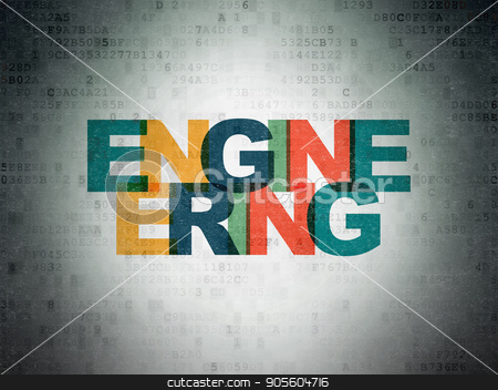 Building construction concept: Engineering on Digital Data Paper background stock photo, Building construction concept: Painted multicolor text Engineering on Digital Data Paper background by mkabakov