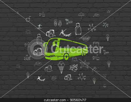 Vacation concept: Bus on wall background stock photo, Vacation concept: Painted green Bus icon on Black Brick wall background with  Hand Drawn Vacation Icons by mkabakov