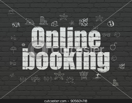Tourism concept: Online Booking on wall background stock photo, Tourism concept: Painted white text Online Booking on Black Brick wall background with  Hand Drawn Vacation Icons by mkabakov