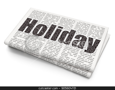 Vacation concept: Holiday on Newspaper background stock photo, Vacation concept: Pixelated black text Holiday on Newspaper background, 3D rendering by mkabakov