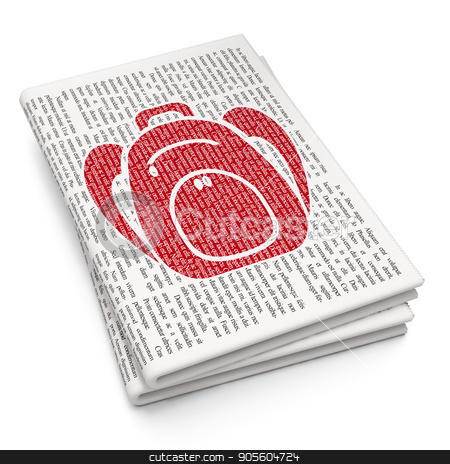 Vacation concept: Backpack on Newspaper background stock photo, Vacation concept: Pixelated red Backpack icon on Newspaper background, 3D rendering by mkabakov