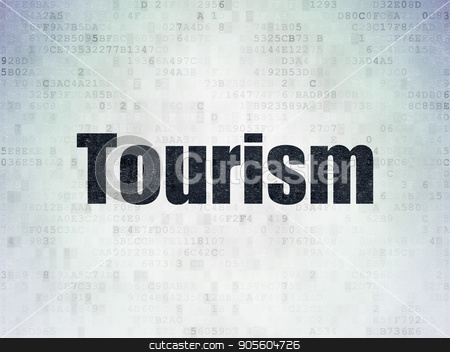 Tourism concept: Tourism on Digital Data Paper background stock photo, Tourism concept: Painted black word Tourism on Digital Data Paper background by mkabakov