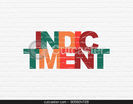 Law concept: Indictment on wall background stock photo, Law concept: Painted multicolor text Indictment on White Brick wall background by mkabakov