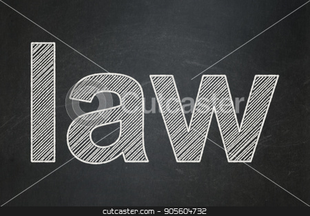 Law concept: Law on chalkboard background stock photo, Law concept: text Law on Black chalkboard background by mkabakov