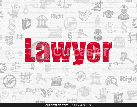 Law concept: Lawyer on wall background stock photo, Law concept: Painted red text Lawyer on White Brick wall background with  Hand Drawn Law Icons by mkabakov