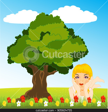 Girl on glade stock vector clipart, Making look younger girl rests upon glade amongst flower by cobol1964