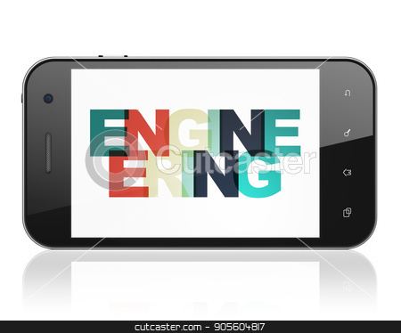 Science concept: Smartphone with Engineering on  display stock photo, Science concept: Smartphone with Painted multicolor text Engineering on display, 3D rendering by mkabakov