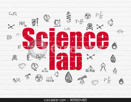 Science concept: Science Lab on wall background stock photo, Science concept: Painted red text Science Lab on White Brick wall background with  Hand Drawn Science Icons by mkabakov