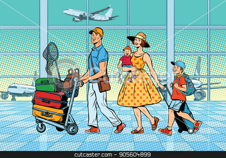 Family travelers at the airport stock vector clipart, Family travelers at the airport. Pop art retro vector illustration. Air transport by studiostoks