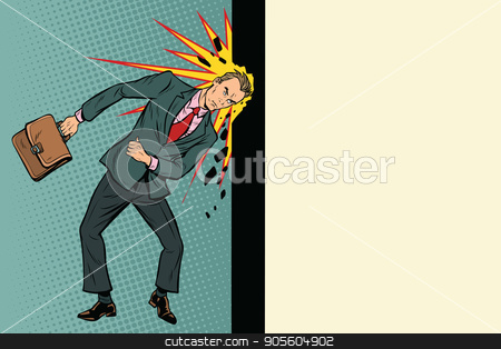 Businessman breaks the wall with his head stock vector clipart, Businessman breaks the wall with his head. Stubbornness and determination in business. Pop art retro vector illustration by studiostoks