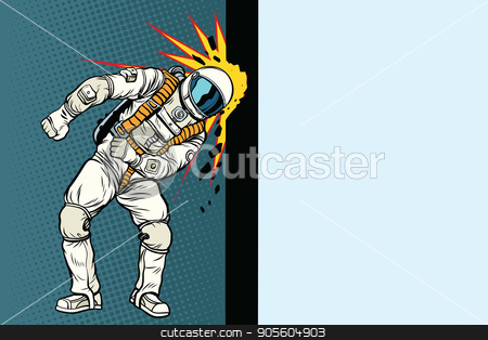 Cosmonaut knocks head on the wall. Dream of mankind stock vector clipart, Cosmonaut knocks head on the wall. Dream of mankind. Pop art retro vector illustration by studiostoks