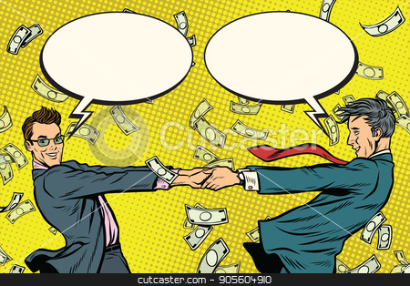 Two businessmen happily dancing in a whirlwind of money stock vector clipart, Two businessmen happily dancing in a whirlwind of money. comic bubble. Pop art retro vector illustration by studiostoks