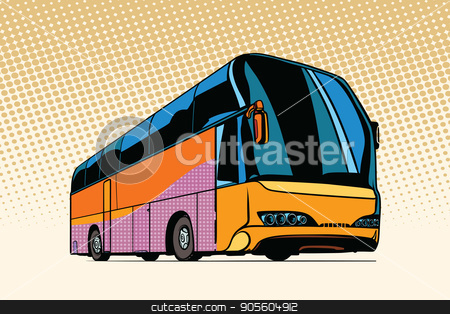 tourist bus, public transport stock vector clipart, tourist bus, public transport. Pop art retro vector illustration by studiostoks