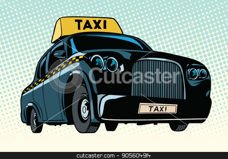 Black taxi with a yellow sign stock vector clipart, Black taxi with a yellow sign. Pop art retro vector illustration by studiostoks