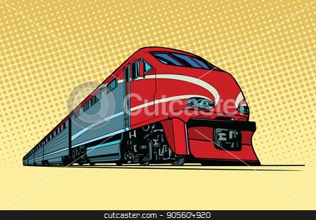 high speed passenger train stock vector clipart, high speed passenger train. Passenger rail transport. Pop art retro vector illustration by studiostoks