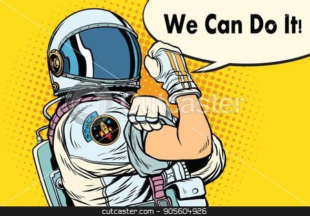 we can do it astronaut stock vector clipart, we can do it astronaut. Cosmonaut gesture. Pop art retro vector illustration by studiostoks