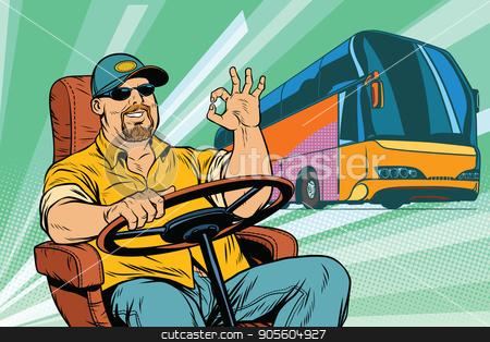 okay tourist bus driver stock vector clipart, okay tourist bus driver. Transport and transportation. Pop art retro vector illustration by studiostoks