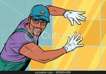 worker Builder puts tile stock vector clipart, worker Builder puts tile. Construction and decoration. African American people. Pop art retro vector illustration by studiostoks