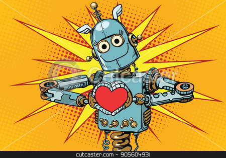 Robot lover with a red heart, symbol of love stock vector clipart, Robot lover with a red heart, symbol of love. Pop art retro vector illustration by studiostoks
