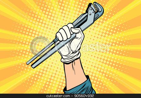 universal wrench, hand master professional stock vector clipart, universal wrench, hand master professional. Pop art retro vector illustration by studiostoks