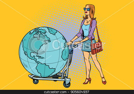 Woman tourist with a Luggage cart with the planet Earth stock vector clipart, Woman tourist with a Luggage cart with the planet Earth. Pop art retro vector illustration by studiostoks