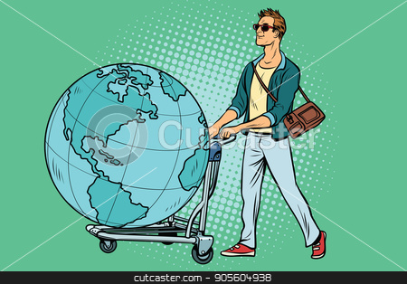 man tourist with a Luggage cart with the planet Earth stock vector clipart, man tourist with a Luggage cart with the planet Earth. Pop art retro vector illustration by studiostoks