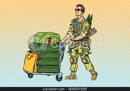 Military tourism, the mercenary with a Luggage stock vector clipart, Military tourism, the mercenary with a Luggage. War and soldiers. Pop art retro vector illustration by studiostoks