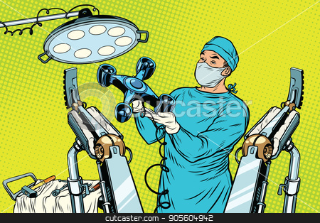 Obstetrician delivered a baby robot quadcopter drone stock vector clipart, Obstetrician delivered a baby robot quadcopter drone. new technology and gadgets. Pop art retro vector illustration by studiostoks