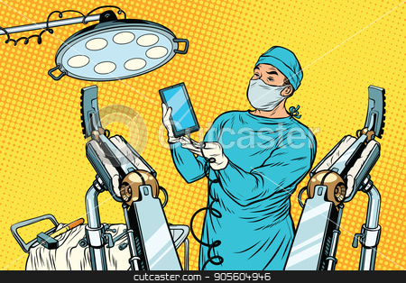 Obstetrician delivered a baby robot smartphone phone stock vector clipart, Obstetrician delivered a baby robot smartphone phone. new technology and gadgets. Pop art retro vector illustration by studiostoks