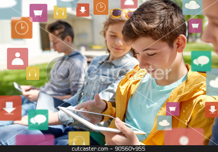 happy friends or students with tablet pc outdoors stock photo, technology, internet and people concept - group of happy teenage friends or high school students with tablet pc computer outdoors over virtual icons by Syda Productions