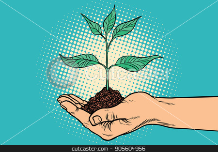 green sprout in hand stock vector clipart, green sprout in hand. Horticulture and agriculture. Ecology and environmental protection. Pop art retro vector illustration by studiostoks