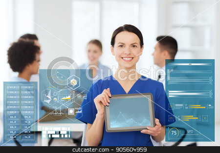 happy doctor over group of medics at hospital stock photo, clinic, profession, people and medicine concept - happy female doctor or nurse showing tablet pc computer blank screen over group of medics meeting at hospital by Syda Productions